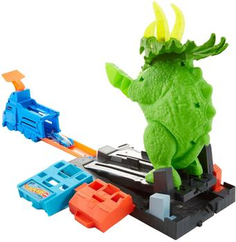 Hot Wheels City Triceratops-Angriff Spielset (GBF97)