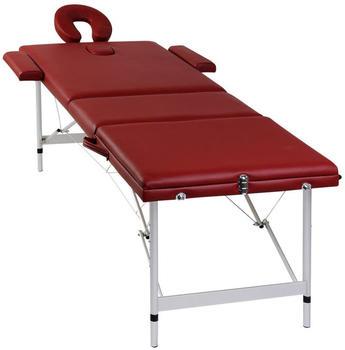 vidaXL Therapy Table 3 Zones Aluminium rouge