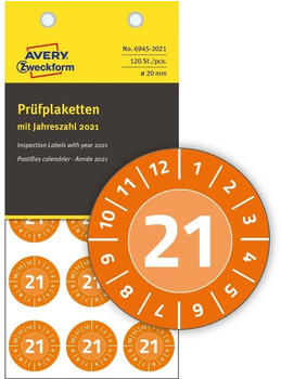 Avery Zweckform Prüfplaketten orange (6945-2021)