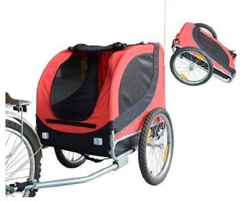 Pawhut Hundetransporter Fahrradanhänger 600D Oxford 130x73x94cm rot/schwarz