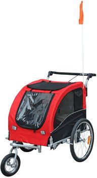Pawhut 2-in-1 Fahrradanhänger für Hunde (rot/schwarz)