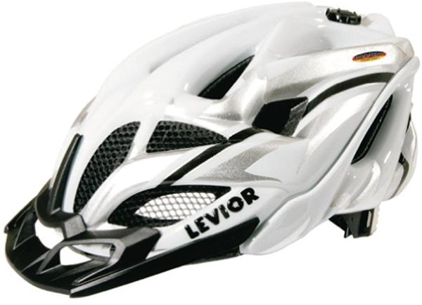 Levior Fahrradhelm Opus Visor, Silber-Weiß Glänzend, L
