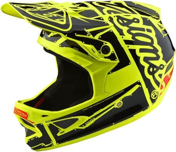 Troy Lee Designs D3 Fiberlite Helmet-Factory Flo-Yellow