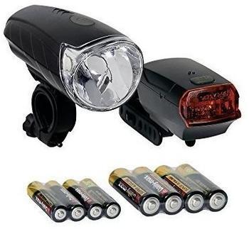 Import Batterieleuchten-Set Sunrise schwarz m. StVZO inkl. Batterien