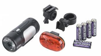 Import LED-Lampen-Set 30 Lux StVZO zugelassen schwarz/silber mit Batterien