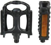 fischer MTB Kunststoff Pedale, passend für alle Fahrrad-Typen, rutsch- und trittfest inkl. Reflektoren, Schwarz