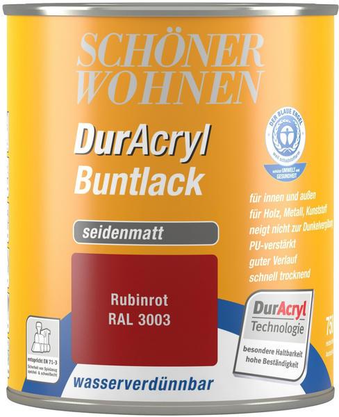 Schöner Wohnen DurAcryl Buntlack seidenmatt 750 ml Rubinrot