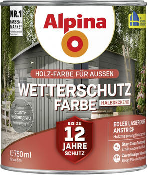 Alpina Wetterschutzfarbe halbdeckend 0,75 l sturmwolkengrau