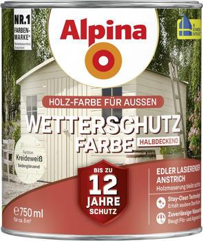 Alpina Wetterschutzfarbe halbdeckend 0,75 l kreideweiß