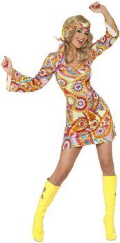 Smiffy's 1960er Hippie Damenkostüm Gr. M (34060)