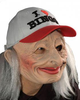 Mehron I Love Bingo Oma Maske mit Cap und Haaren (36927)