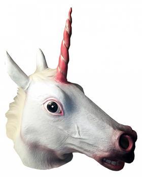 Mehron Weiße Einhorn Latex Maske mit Mähne & rosa Horn (36391)