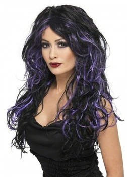 Smiffy's Black and purple adult wig
