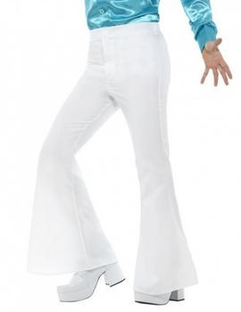 Smiffy's White bell-bottomed disco adult pants