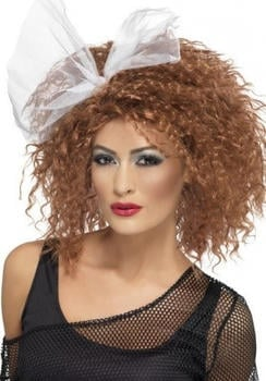 Smiffy's 80s curly brown adult wig with white ribbon