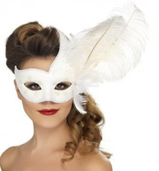 Smiffy's White Venetian adult mask with feather