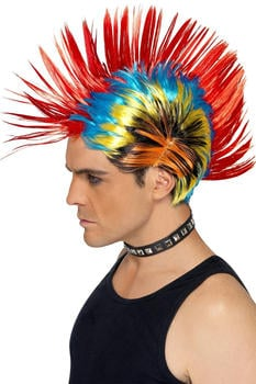Smiffy's 80s multicolour punk adult wig