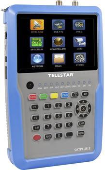 "Telestar ""SATPLUS 3"" Messgerät (DVB-S/-S2/-C/-C HD/-T/-T2/H.265/HEVC/SAT-IP, 12,7cm (5 Zoll) LCD-Farbdisplay inkl. Live Bild, 14 Sprachen) silber-blau"