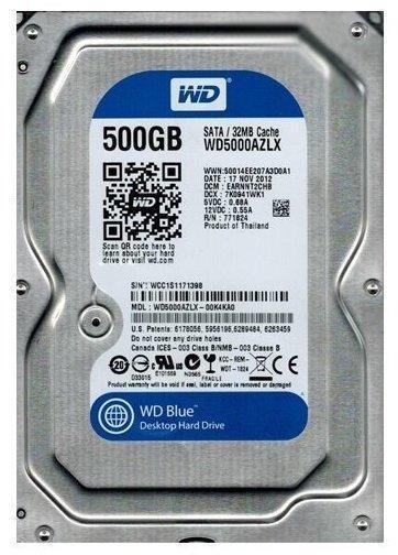 Western Digital Blue Desktop SATA 500GB (WD5000AZLX)
