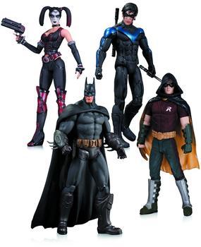 DC Comics Arkham City Actionfigur Set Harley Quinn, Batman, Nightwing und Robin