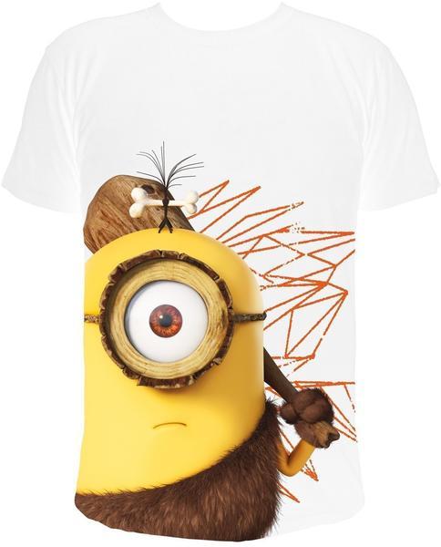 NBG MINIONS T-Shirt, Cro Minion - Stuart mit Keule (Caveman), weiss, Gr. XL