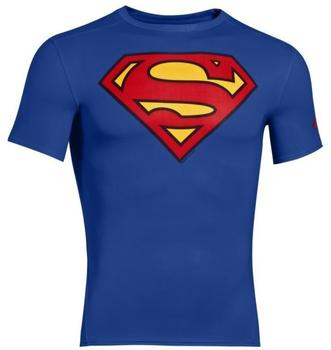 Under Armour Superman Compression Shirt Alter Ego blau M