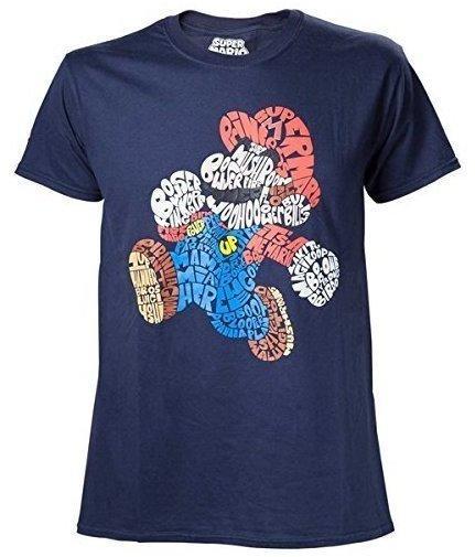 Bioworld Nintendo T-Shirt -L- Mario Word Play, blau