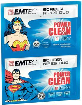 Emtec Superman und Wonder Woman Reinigungstücher 2er Set