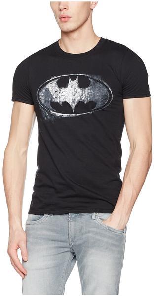 Batman Logo Mono Distressed (T-Shirt,Schwarz,GR S)