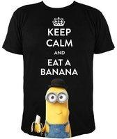 NBG Minions - T-Shirt, Kevin - KEEP CALM AND EAT A BANANA, schwarz, Gr. L