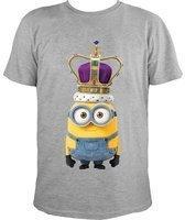 NBG Minions T-Shirt, King Bob mit Krone, grau, Gr. M