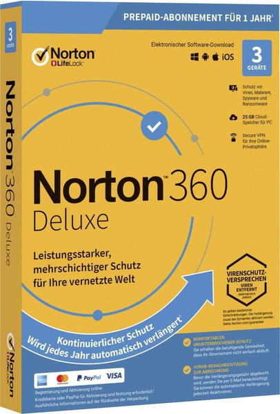 Symantec Norton 360 DELUXE 25GB GE 1 USER 3 DEVICE 12MO Jahreslizenz, 3 Lizenzen Windows, Mac, Andr