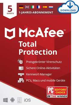 McAfee Total Protection 2021 5 Geräte 1 Jahr