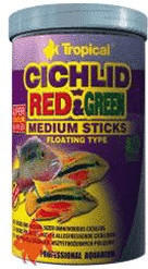 Tropical Cichlid Red & Green Medium Sticks (1 Liter)