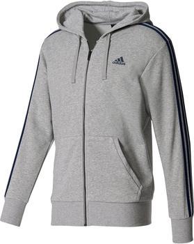 Adidas Essentials 3-Streifen Kapuzenjacke Männer Athletics medium grey heather