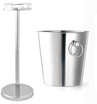 Bredemeijer edler glänzender Edelstahl Sektkühler mit Ständer ca. 90 cm hoch
