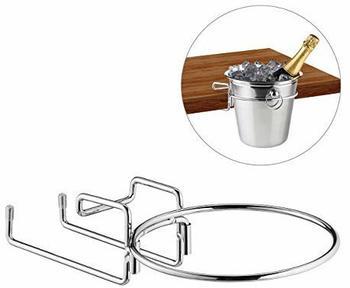 Relaxdays Sektkühlerhalter, Tischhalterung für Weinkühler mit 18cm Ø, platzsparend, Sektkübelhalterung aus Eisen, silber