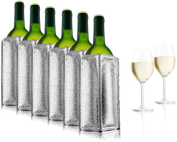 Vacu Vin 6er Set Aktiv Flaschenkühler Weinkühler silber für 0,75 - 1 Liter Flaschen