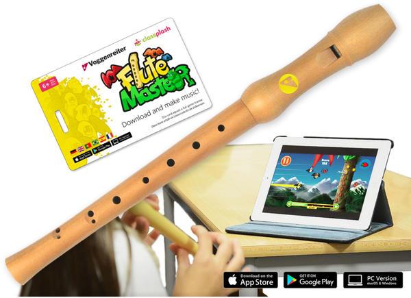 Voggenreiter Flute Master (App) + Blockflöte aus Bergahorn in barocker Griffweise