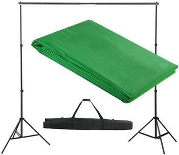 VidaXL Hintergrundsystem mit Tuch 300 x 300 cm grün