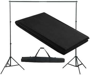 VidaXL Hintergrundsystem mit Tuch 300 x 300 cm schwarz