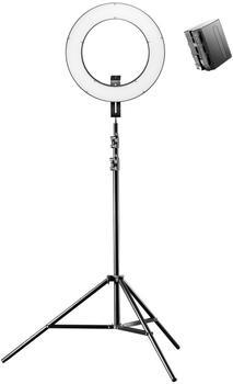 Walimex pro LED Ringleuchte 380 Bi Color Set inkl. Lampenstativ und 1 Akku
