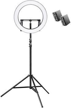 Walimex pro LED Ringleuchte 500 Bi Color Set inkl. Lampenstativ und 2 Akkus