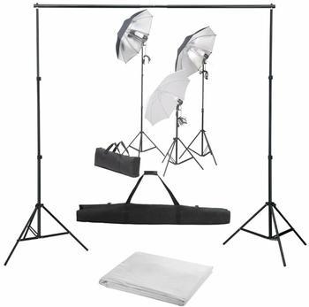 vidaXL Fotostudio-Set mit Lampen-Set und Hintergrund (3055122)