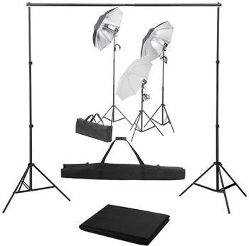 vidaXL Fotostudio-Set mit Lampen-Set und Hintergrund (3055118)