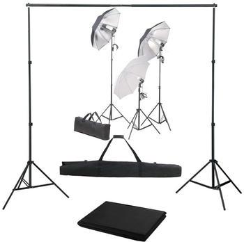 vidaXL Fotostudio-Set mit Lampen-Set und Hintergrund (3055124)