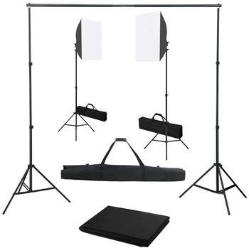 vidaXL Fotostudio-Set mit Softbox-Leuchten und Hintergrund (3055055)