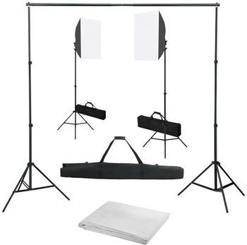 vidaXL Fotostudio-Set mit Softbox-Leuchten und Hintergrund (3055056)