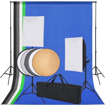 vidaXL Fotostudio-Set 5 farbige Hintergründe & 2 Softboxen (190207)