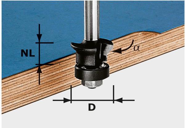 Festool Fase-Bündigfräser HW S8 D24/0° +45° - 491026